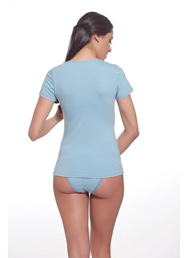 Sevim Renkli T-Shirt Mavi